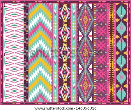Seamless colorful aztec geometric pattern - stock vector