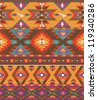 Seamless colorful aztec pattern - stock photo
