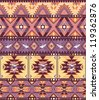 Seamless colorful aztec pattern with birds and arrow - stock photo
