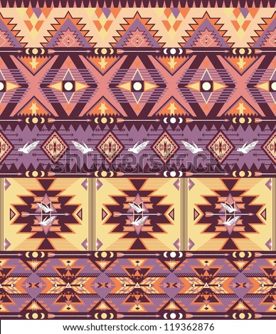 Seamless colorful aztec pattern with birds and arrow - stock vector