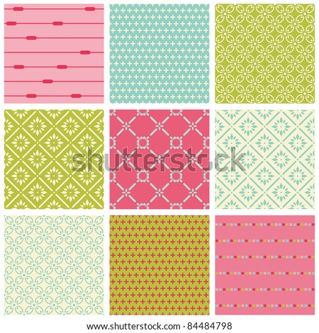 Seamless Colorful background Collection - Vintage Tile - stock vector
