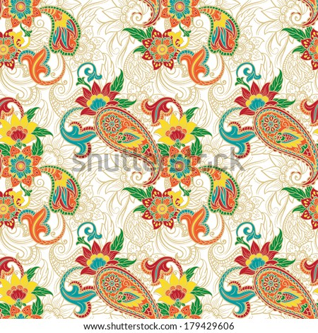 Seamless colorful background pattern with paisley and flowers. Vector illustration.
