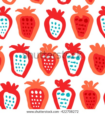 Seamless colorful background with berries. Endless fabric texture. Decorative drawing pattern - stock vector