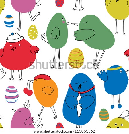 Seamless colorful birds pattern. Vector. - stock vector