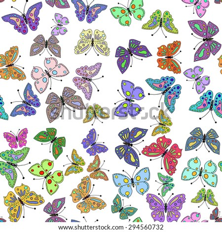 Seamless colorful butterfly pattern. Vector illustration 2 - stock vector