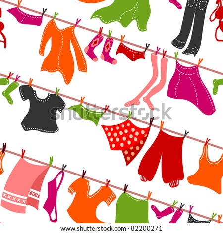 seamless colorful clothes drying - stock vector