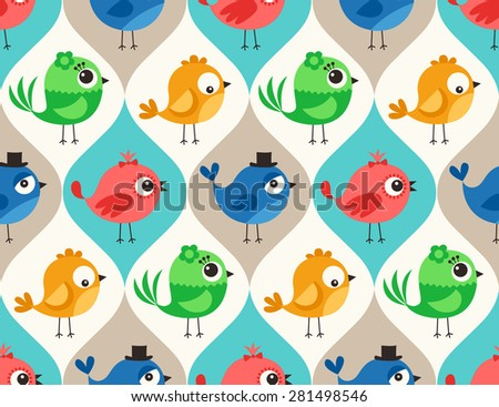 seamless colorful cute birds pattern wallpaper background - stock vector