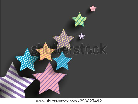 Seamless colorful dots and line patterns on star shape.