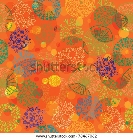 seamless colorful floral pattern in cartoon stile - stock vector