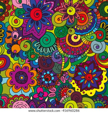 Seamless colorful floral pattern. Perfect for printing on fabric or paper. Vector
