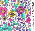 Seamless colorful funny floral pattern - stock vector