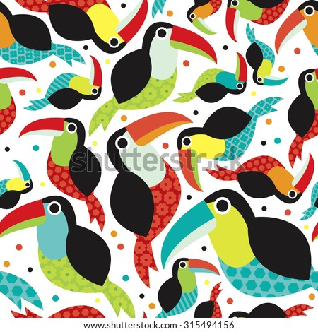 Seamless colorful gender neutral kids toucan birds tropical summer brazil jungle animals illustration background pattern in vector - stock vector