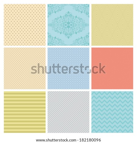 Seamless Colorful geometric minimalistic subtle background patterns. - stock vector