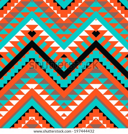 Seamless colorful navajo pattern - stock vector