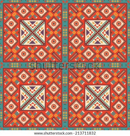 Seamless colorful Navajo pattern, vector illustration.