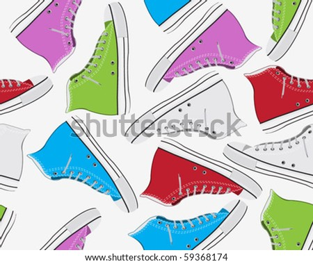 Seamless colorful old sneaker background - stock vector