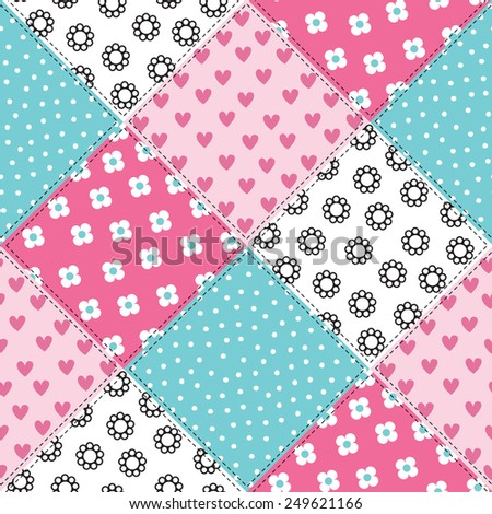 seamless colorful patchwork pattern vector illustration - stock vector