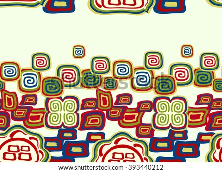 Seamless colorful pattern in Indian style with symbols. EPS10 vector illustration