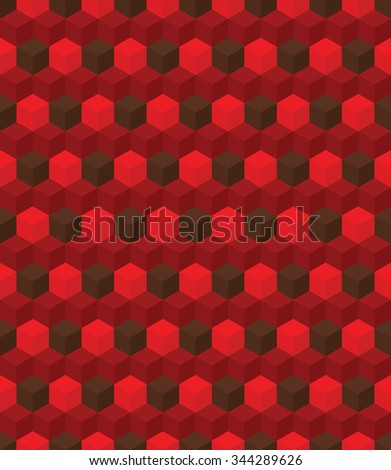 Seamless colorful pattern made from geometric element cube. Background. Optical illusion. Dark and red colors, vector - stock vector