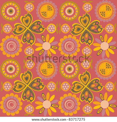 seamless colorful pattern on a red background - stock vector