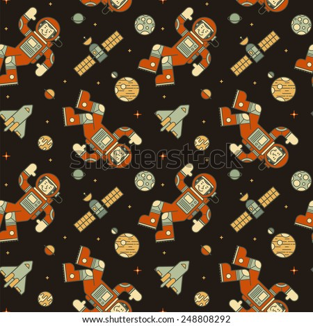 Seamless colorful pattern with cute doodle astronauts, spaceships and planets. - stock vector