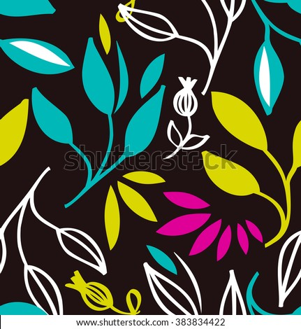Seamless colorful pattern with flowers and leaves. Vector decorative texture - stock vector