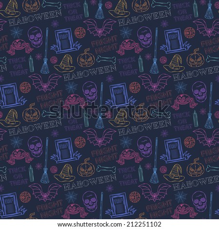Seamless colorful pattern with Halloween themed elements: a sinister spider,bat,broom       witch,candle, pumpkin, tombstone,grave, eyes,spider web, skull, witch hat on a dark background with text     - stock vector