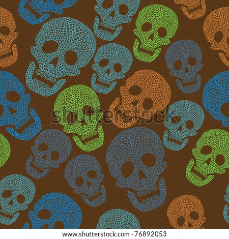 Seamless colorful pattern with skull. Background - stock vector