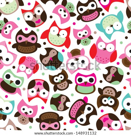 Seamless colorful pink and blue owl background pattern for kids in vector  - stock vector