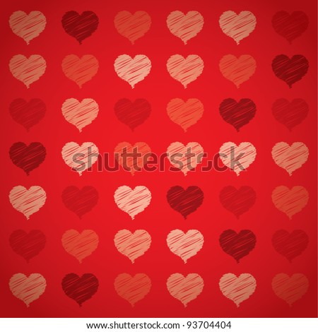 Seamless colorful red hearts pattern, Valentine's day concept, vector illustration - stock vector