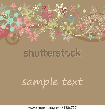 seamless colorful snowflake border - stock vector
