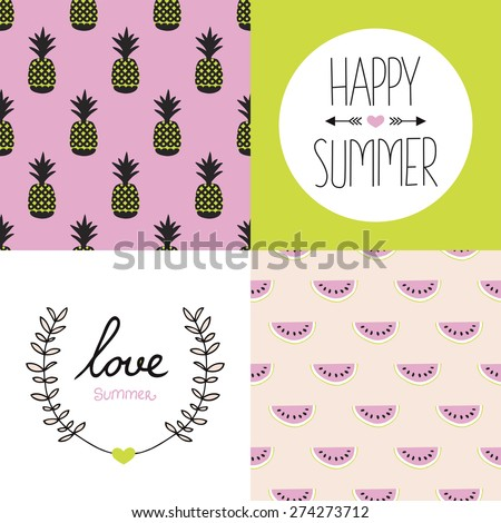 Seamless colorful summer pattern set collection and postcard cover designs with pineapple water melon and hand lettering in vivid colors - stock vector