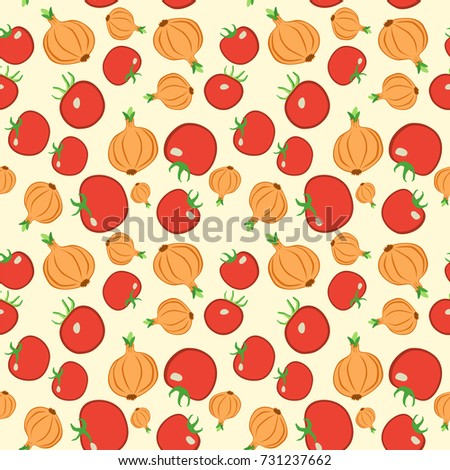 Seamless Colorful Vegetable Pattern Vector Background With Tomato And Onion Patterned Paper For Scrapbook