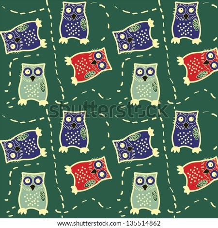 Seamless colorfull owl pattern for kids in vector. Vector art - stock vector