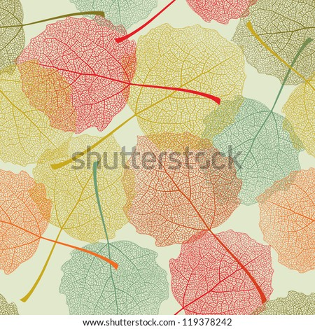 Seamless colors leaves pattern - stock vector
