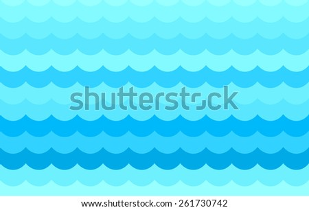 Seamless colourful pattern background with clean waves for web, flyer background. Blue, cyan, royal blue - stock vector