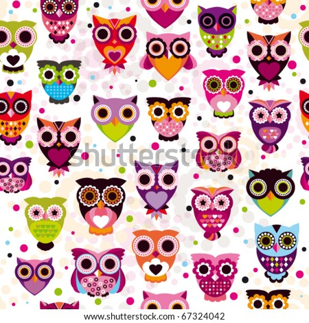 Seamless colourfull owl pattern for kids in vector - stock vector