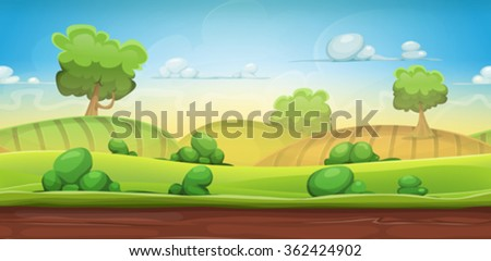 Seamless Country Landscape For Ui Game/ Illustration of a cartoon seamless green nature rural background with grass, pasture, meadows, fields and trees for ui game scenics - stock vector