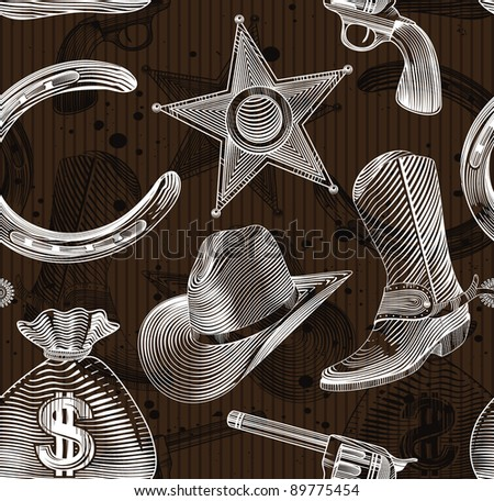 seamless cowboy pattern in engraving style - vector illustration - stock vector