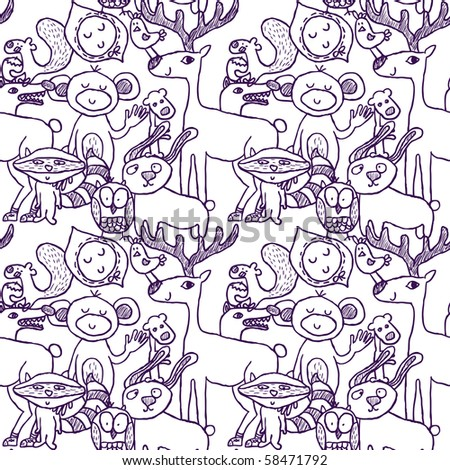 Seamless crazy animal funny pattern