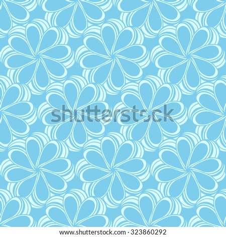 Seamless creative hand-drawn pattern composed of stylized flowers in pale cyan and light turquoise colors. Vector illustration.