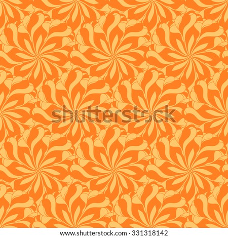 Seamless creative hand-drawn pattern composed of stylized flowers in yellow and orange colors. Vector illustration.