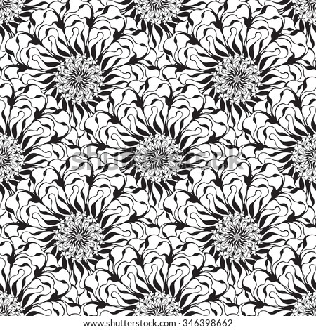 Seamless creative hand-drawn pattern of stylized flowers in black and white colors. Vector illustration. - stock vector