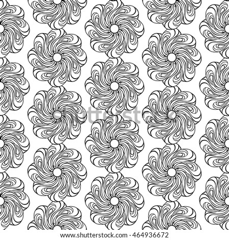 Seamless creative hand-drawn pattern of stylized flowers in black and white colors. Vector illustration.