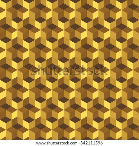 Seamless cubic Pattern. Seamless Golden background. Grid Pattern. Abstract colorful Background. Isometric background. Holidays background. Geometric pattern. Geometric Texture. Vector regular Texture. - stock vector