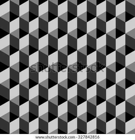 seamless cubic pattern with monochrome - stock vector