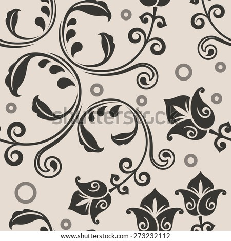 Seamless curly lowers beige vector pattern. - stock vector