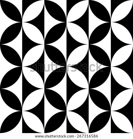 Seamless Curved Shape Pattern. Vector Black and White Background - stock vector