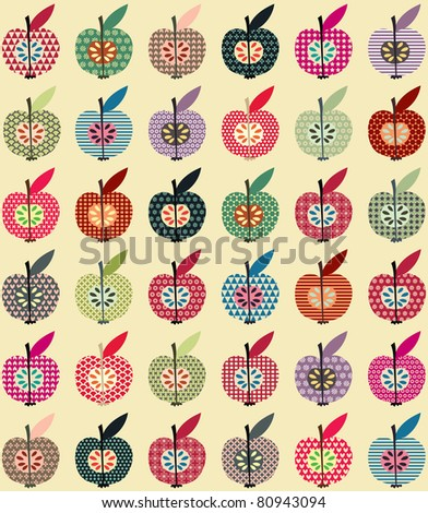Seamless Cute Apples Wallpaper in Retro Style - stock vector