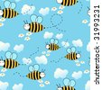 Seamless cute bees background - stock vector